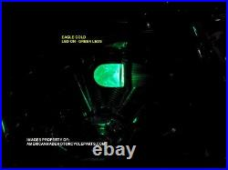 3D EAGLE GREEN LED Air Cleaner Intake Filter Harley Motorcycle Elbow Point Cone