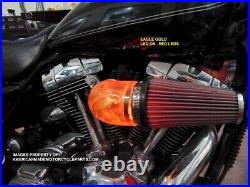 3D EAGLE RED LED Air Cleaner Intake Filter For Harley Motorcycle Elbow Point