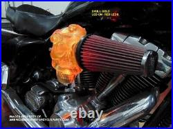 3D RED LED Skull Snake Air Cleaner Intake Filter For Harley Motorcycle Scull