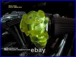 3D Yellow LED Skull Snake Air Cleaner Intake Filter For Harley Motorcycle Scull