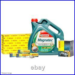 Bosch Oil & Air Filter With Castrol Magnatec 5W30 C3 Engine Oil 4L & 4 Spark Plugs