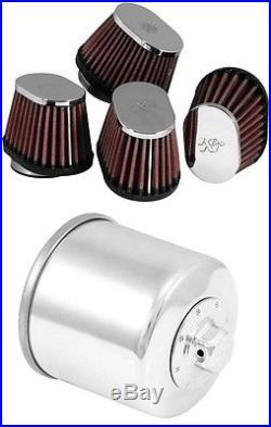 K&N Motorcycle Custom Air Filter + Oil Filter Chrome RC-1824 + KN-138C