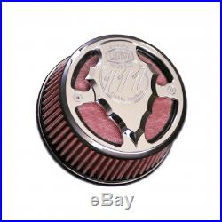Lloydz Indian Motorcycle Round Facet Cut Airbox Chrome WithRed Filter