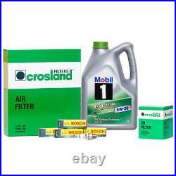 Mobil 1 ESP 5W30 Engine Oil 5L + Oil & Air Filter & 4 Spark Plugs Service Kit