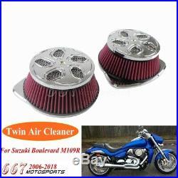 Motorcycle High Flow Air Filter Intake Twin Cleaner For Suzuki Boulevard M109 R