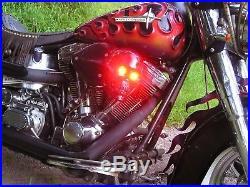 Motorcycle Skull Air Cleaner LED Light Eyes, Spring Jaw, Aluminum Finish