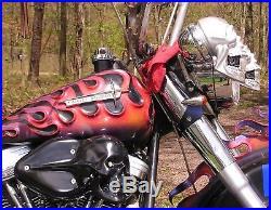 Motorcycle Skull Air Cleaner LED Light Eyes, Spring Jaw, Gun Metal Grey Finish