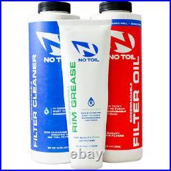 No Toil Air Filter Triple Pack Oil Cleaner Rim Grease Motocross MX Off Road Bike