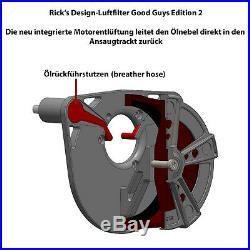 Ricks Harley Dyna 1999-2017 Rodder Luftfilter Billet-Alu schwarz