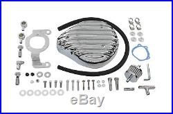 Tear Drop Air Cleaner Kit Finned Chrome, for Harley Davidson motorcycles, by V