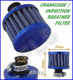Universal Rover Oil Mini Breather Air Filter-fuel Crankcase Engine Car Bike-blue